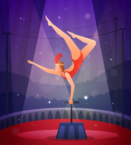 Chica esbelta realizando ejercicio acrobático vector