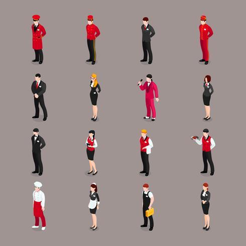 Collection de personnages du personnel d'accueil vecteur