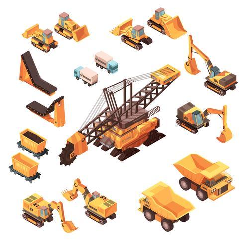 Extractive Equipment Isometric Set vector