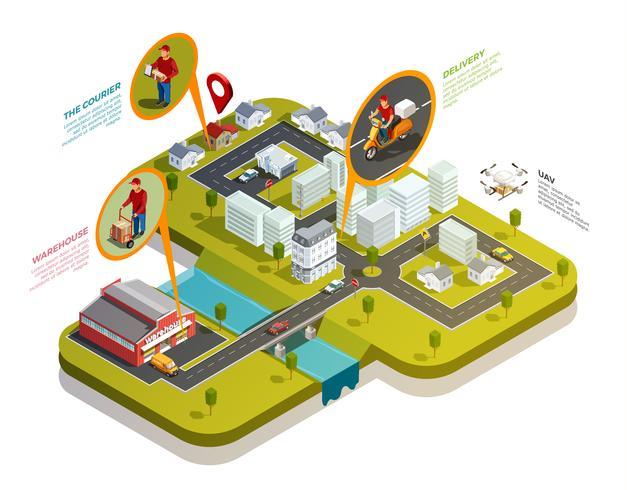 Logistics Isometric City Composition