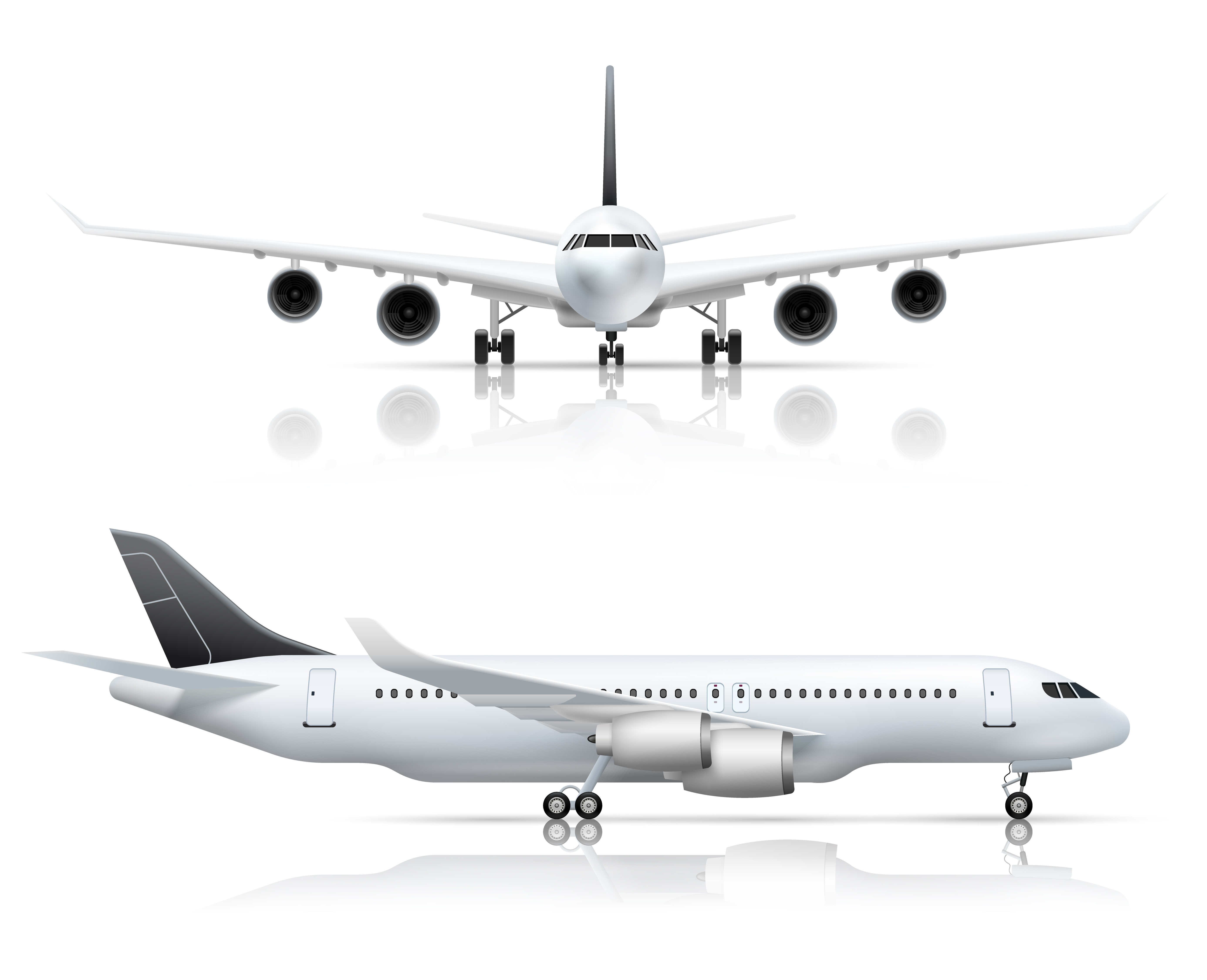 Airliner Front Side Realistic View  Download Free Vectors