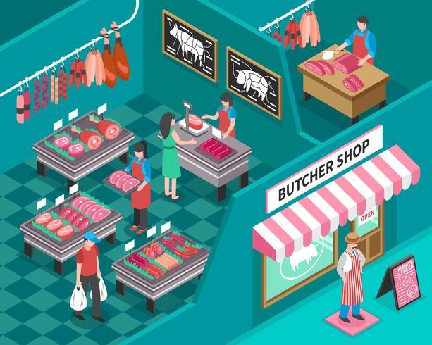 Ilustración isométrica tienda de carne vector