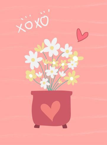 amour fleur rose carte douce au design plat de vecteur de pot