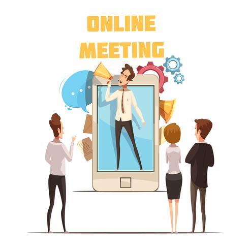 Concepto de reunión en línea vector