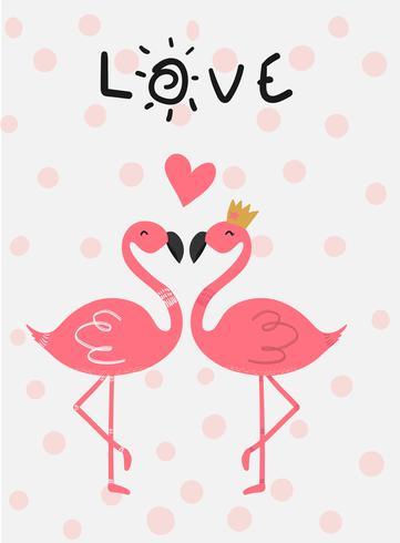 liefde kaart roze flamingo verliefd zoenen vector platte ontwerp