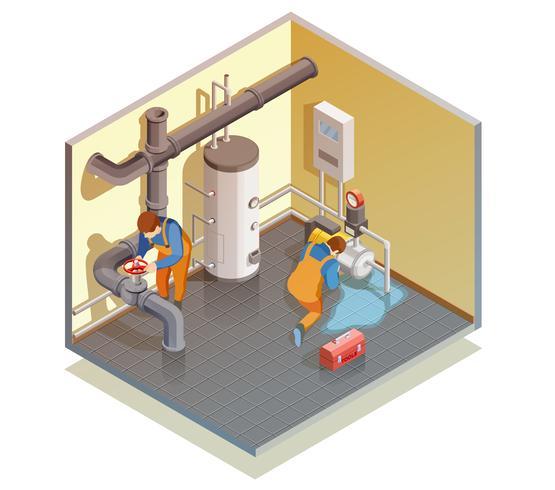 Plumbers Boiler Leak Fixing Isometric Composition vector