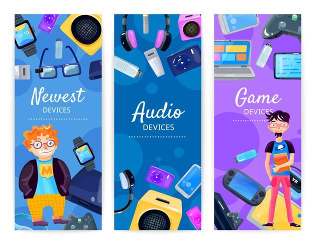 Banners Verticais de Dispositivos Geek vetor