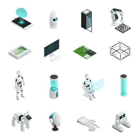 Artificial Intelligence Isometric Icon Set