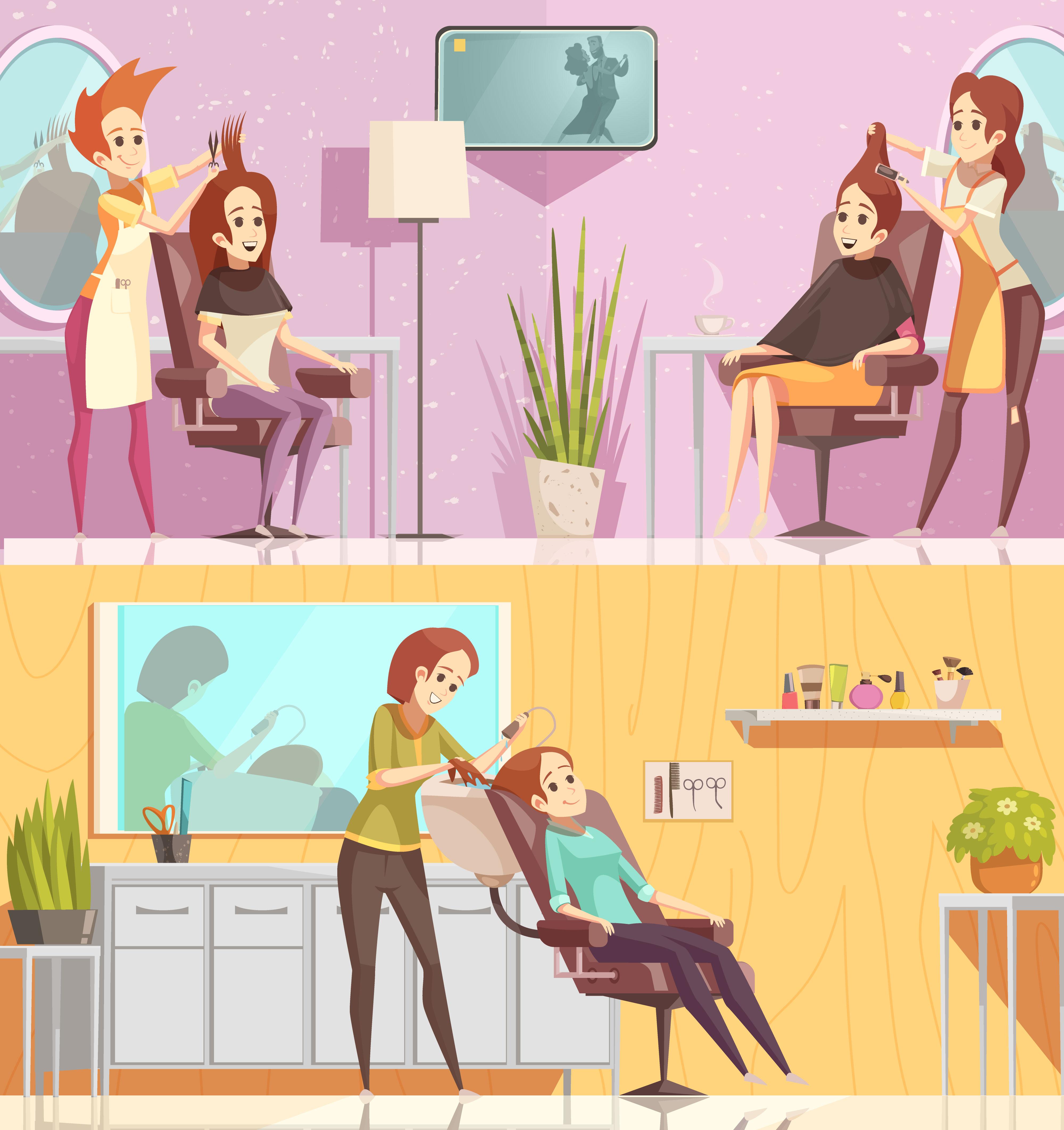 Hair Salon Horizontal Cartoon Banners 475951 Vector Art At