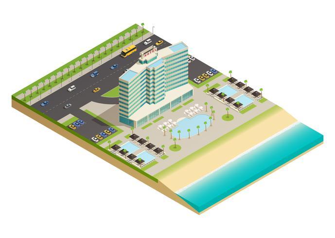 Hotel de lujo edificio composición isométrica