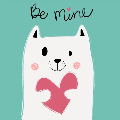 cute white cat holding pink heart on mint background, idea for card