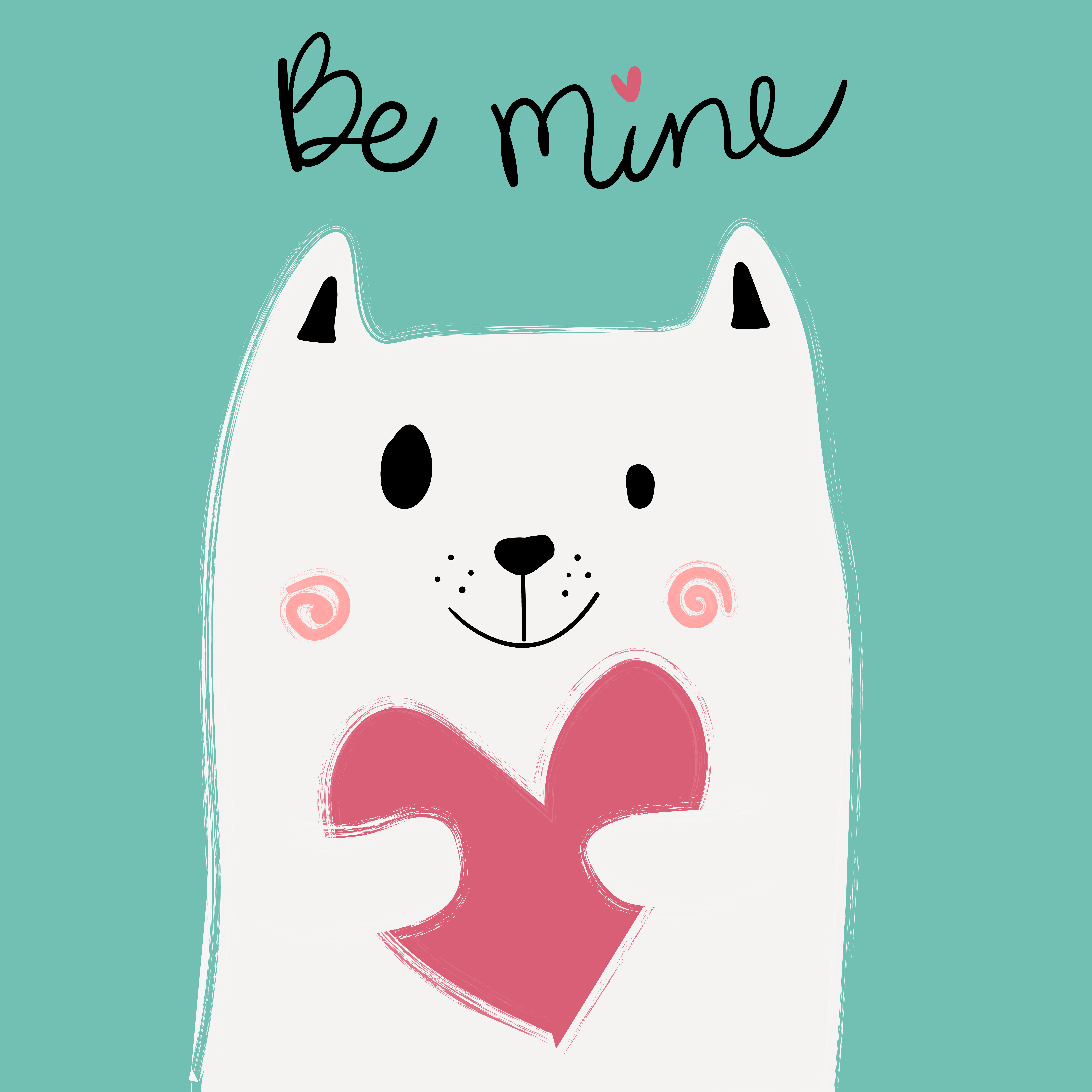 Cute White Cat Holding Pink Heart On Mint Background Idea
