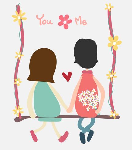 couple de vecteur s'asseoir sur la balançoire tenant une fleur de handand