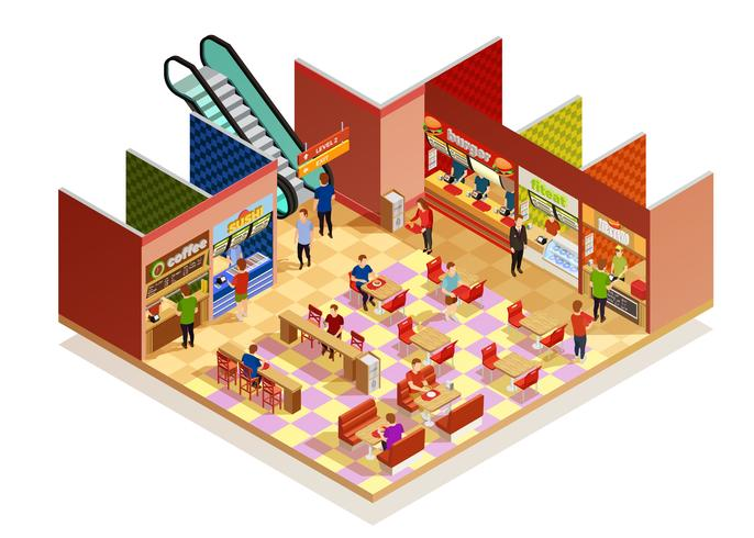 Food Court Isometric Composition