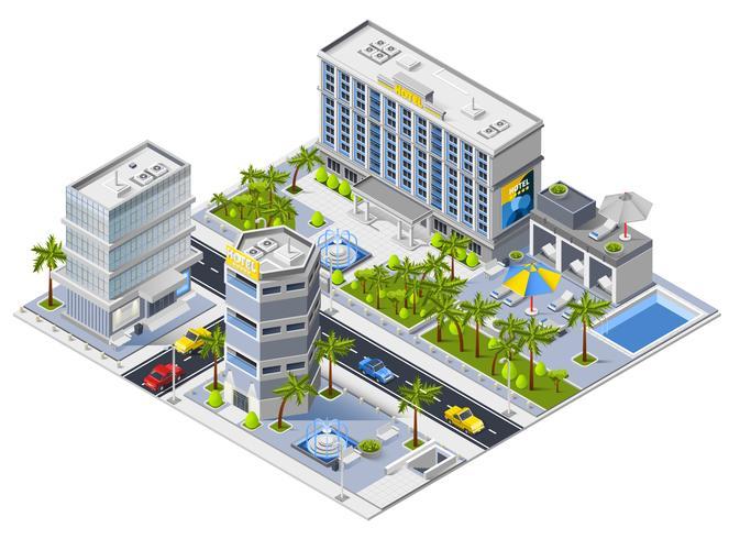 Luxe Hotel gebouwen isometrische ontwerpconcept