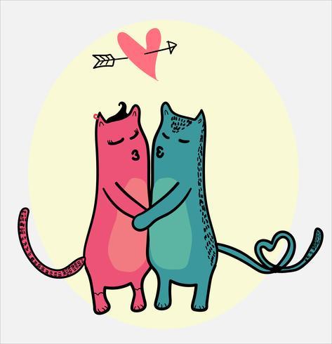 doodle gatos besándose con corazón volando en el marco de amor