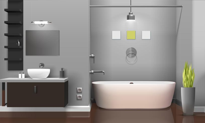 Design intérieur de salle de bain moderne réaliste - Téléchargez de ...