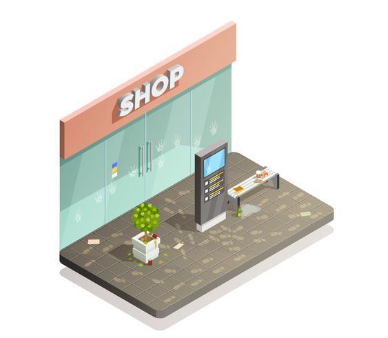 Vuile Storefront isometrische samenstelling