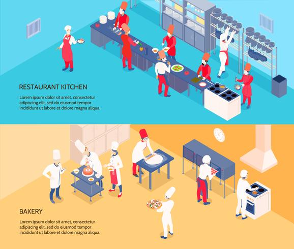 Banners isométricos de cocina profesional vector