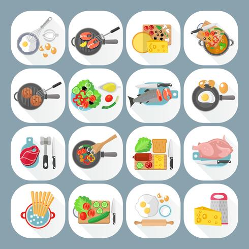 Home cooking day menu icons vector