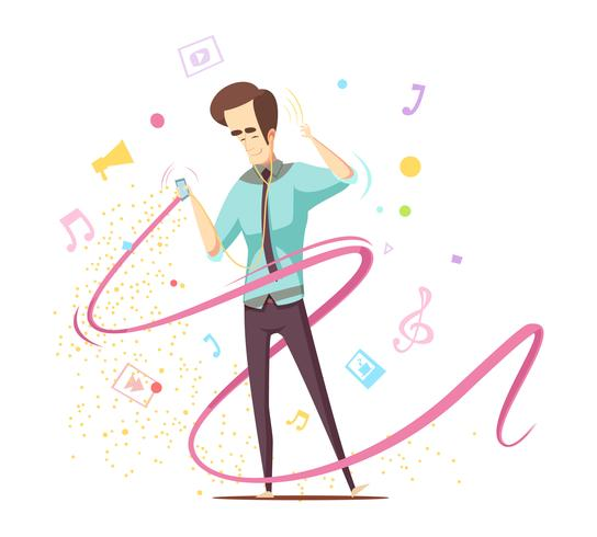 Man Listening Music Design Concept vector