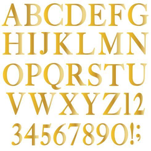 alfabeto serif ouro