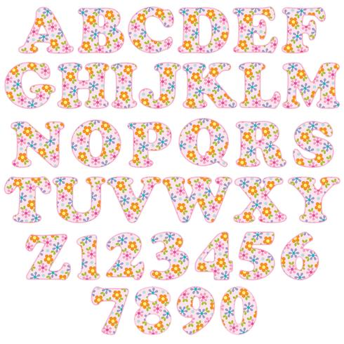 alfabeto modello floreale rosa