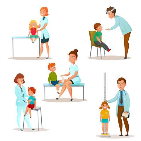 barnen besöker en doktorsymboluppsättning vektor