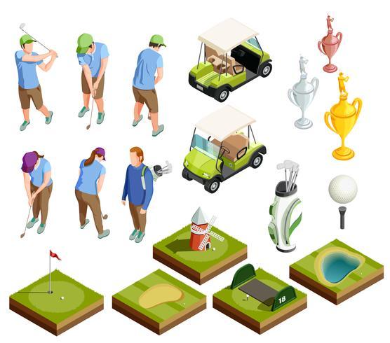 Icônes décoratives isométriques colorées de golf vecteur