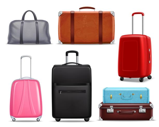 Ensemble réaliste de bagages de voyage rétro moderne