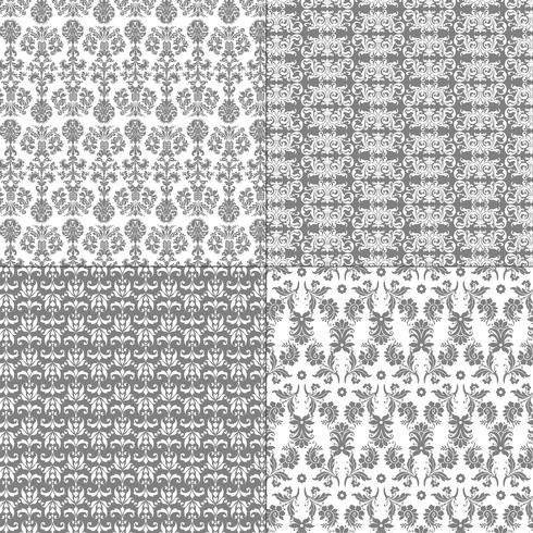 pastel grey and white damask patterns vector