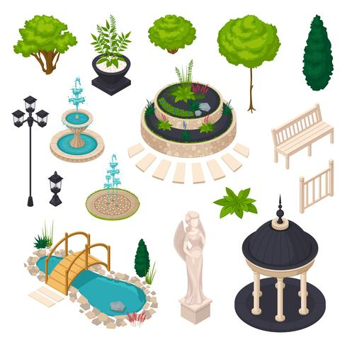 Isometric Elements For City Landscape Constructor vector