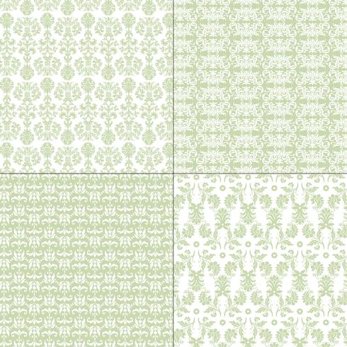 pastel green and white damask patterns vector