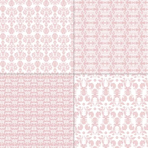 pastel pink and white damask patterns vector