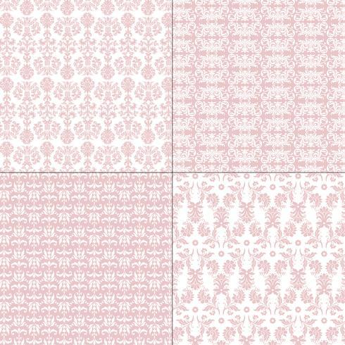 Pastellrosa und weiße Damastmuster