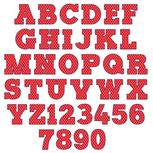 rode polka dot alfabet