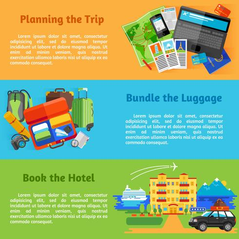 Summer vacation travel banners vector