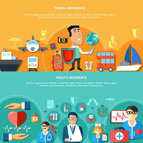 Bannières horizontales de vacances et d'assurance maladie