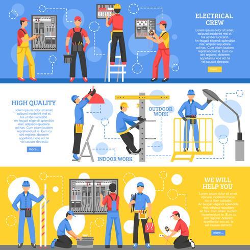 Bannières horizontales électriques vecteur