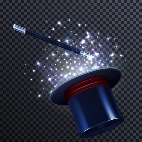 Composition de conte avec baguette magique et chapeau de magicien vecteur