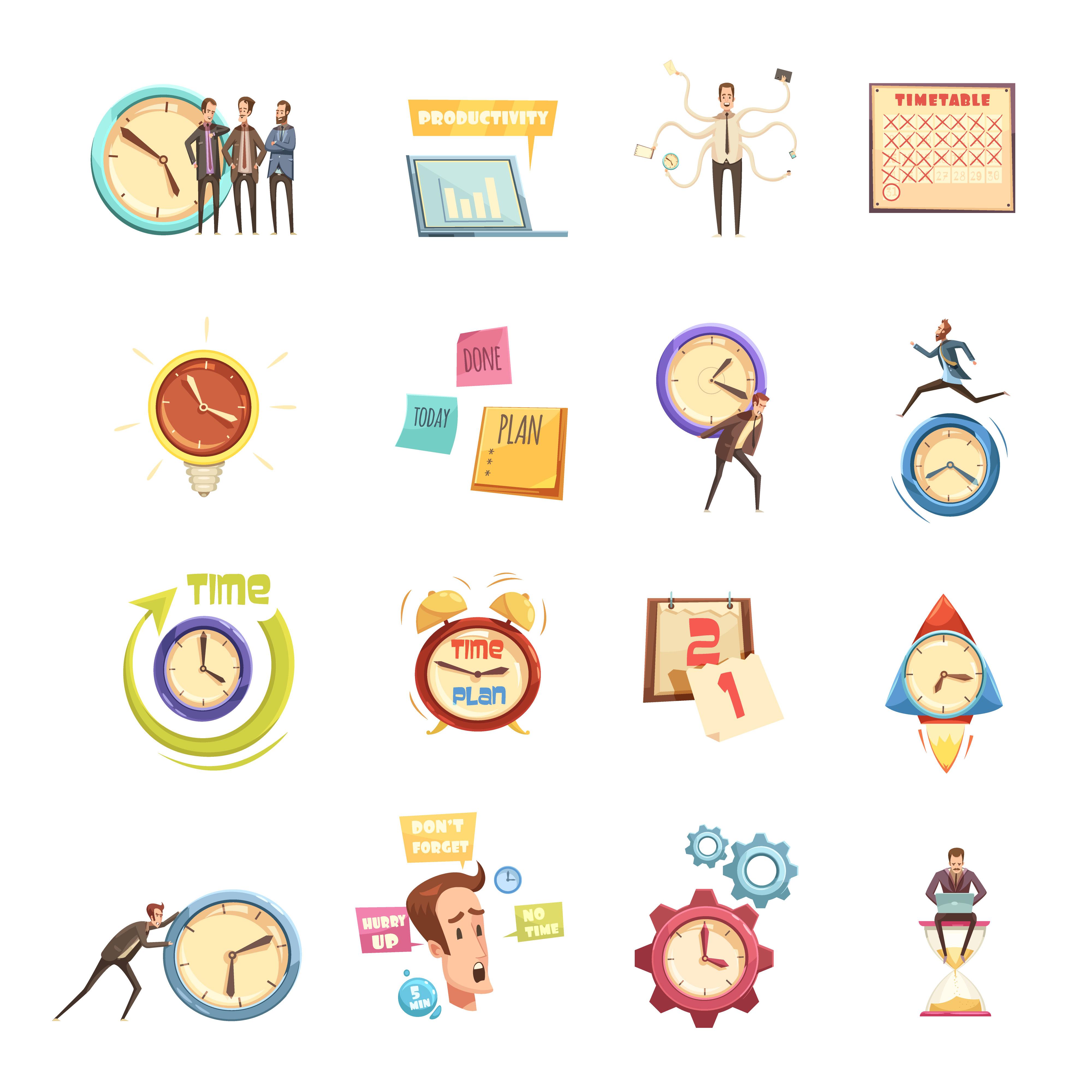 Time Management Retro Cartoon Icons Set Download Free Vectors Clipart Graphics Vector Art