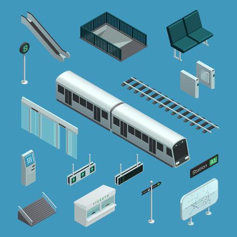 tunnelbana isometriska element vektor