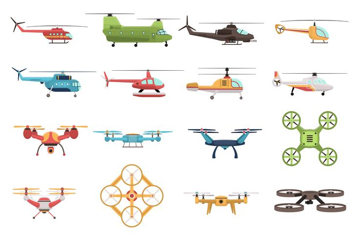 Helicopters And Drone Set vector
