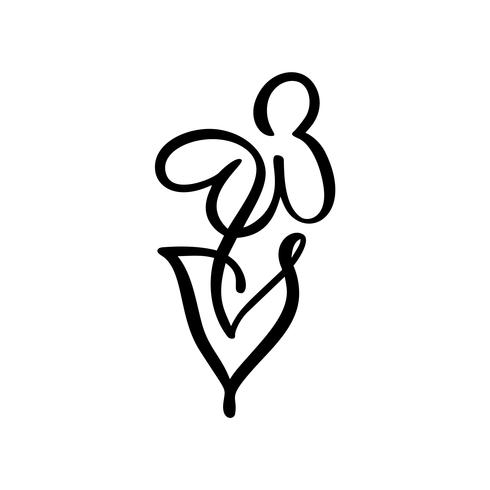 Continuous line hand drawing calligraphic vector flower concept logo spa. Scandinavian spring floral design element in minimal style. black and white