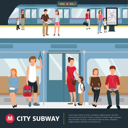Ilustración de la gente del metro