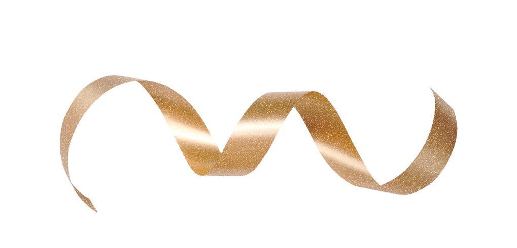 Bel arc doré décoratif avec long ruban isolé sur fond blanc. Arc d'or de vecteur. Illustration de décoration de vacances