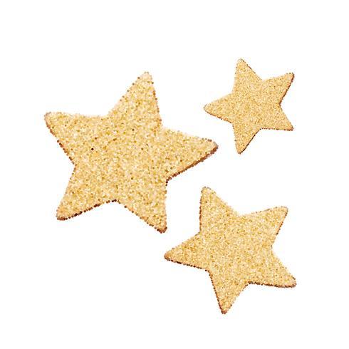Tre guld glitter vektor stjärnor. Gyllene gnistrande lyx designelement. Element för reklamaffisch. Platt tecknad vektor illustration. Objekt isolerade på en vit bakgrund