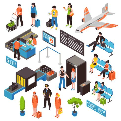 Conjunto de iconos isométricos de aeropuerto vector