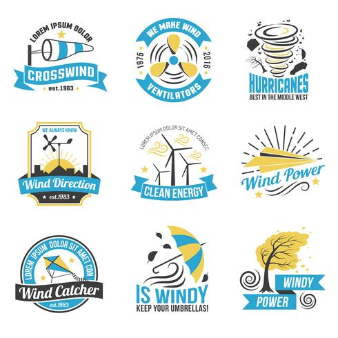 Wind Energy Power Flat Emblems Collection