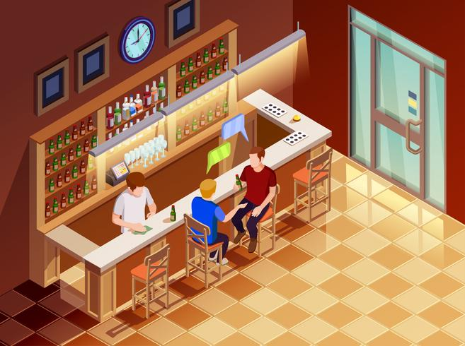 .Friends In Bar Interior Isometric View  vector